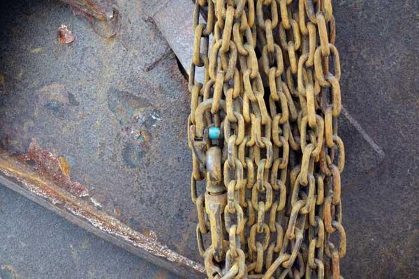 Fishing trawler chains. Buckie Harbour. Scotland, August 2017.