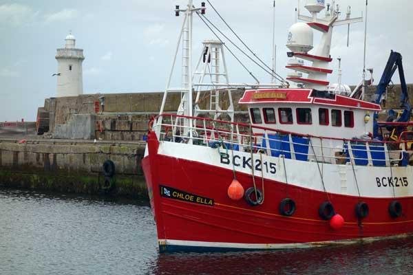 Chloe Ella moored in Buckie Harbour. Scotland, August 2017.