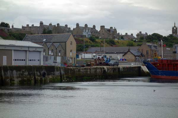 A view of Buckie from the Harbour. Scotland, August 2017.