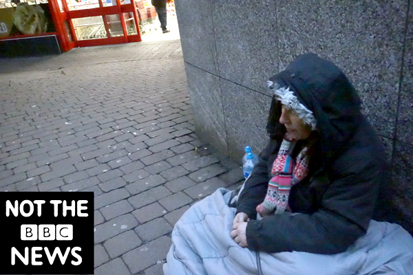 Homeless. Publicity shot for the film. Liverpool 2017.