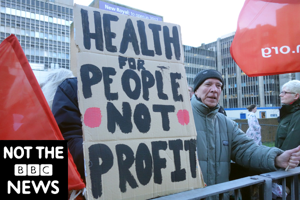 Health for people not profit. Publicity shot for the film. Liverpool 2016.
