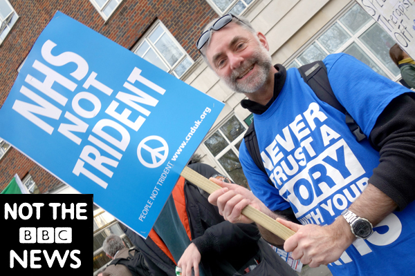 NHS Not Trident. Publicity shot for the film. London 2017.