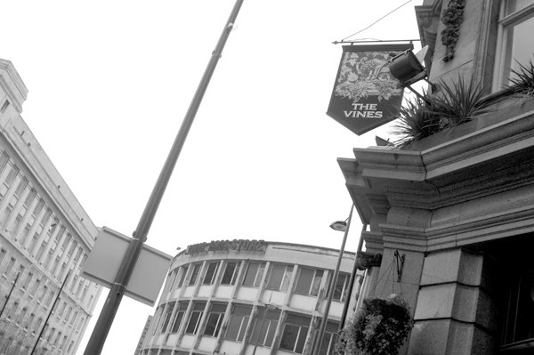 The Vines pub sign. Lime street Liverpool 2005.